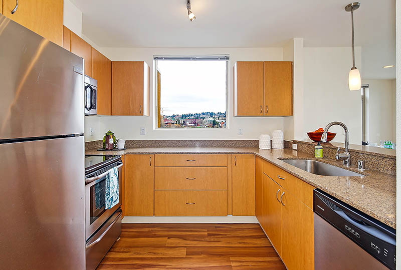 Modern Kitchens At Westwater Apartments in Kirkland, WA