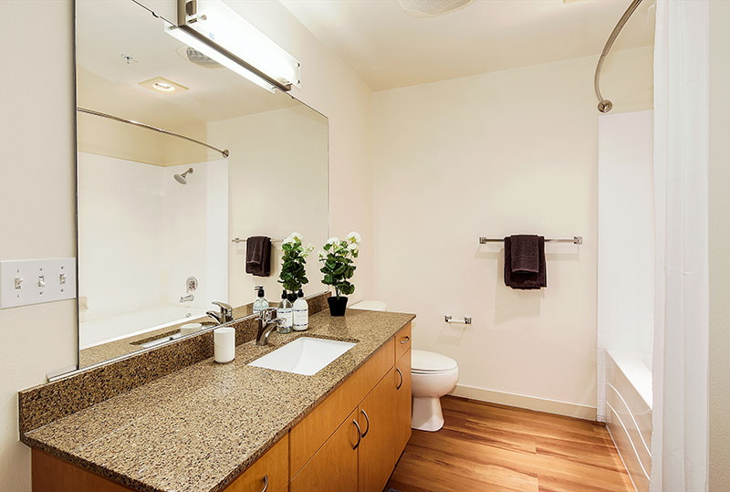 Spacious Apartment Bathroom Layouts At Westwater Apartments in Kirkland, WA